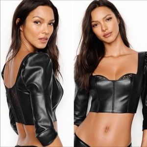 VS 32D VERY SEXY FAUX LEATHER BRA TOP